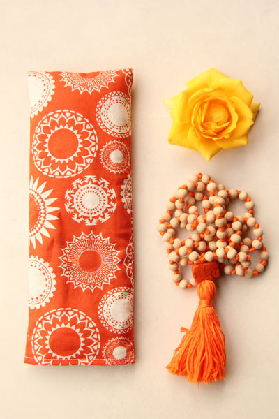 Therapeutic Flaxseed Filled Yoga Eye Pillow - Orange Mandalas
