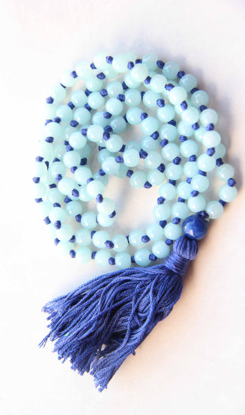 Perrywinkles - Long Knotted Blue Mala Necklace with Blue Cotton Tassel