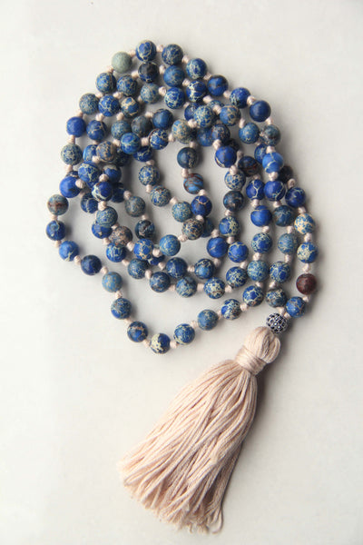 Knotted Long 108 Mala Necklace with Blue Cotton Tassel and Mix Turquoise Beads III