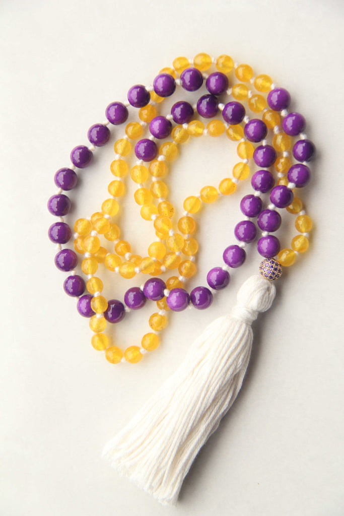 Long Knotted Citrine Mala Necklace with Cream Cotton Tassel