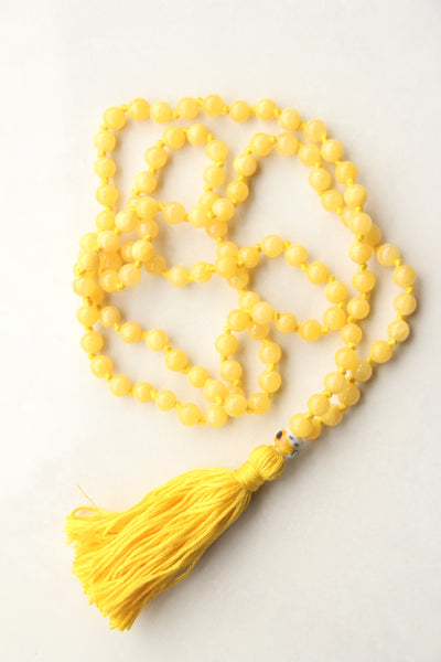 Long Knotted Citrine Mala Necklace with Yellow Cotton Tassel - IV
