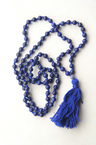 Blue Lapis Lazuli Semi Precious Beads Long 108 Mala Necklace w/ Blue Tassel for Yoga & Meditation II