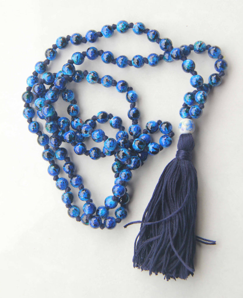 Deep Blue Sea - Long Knotted Blue Mala Necklace with Blue Cotton Tassel II