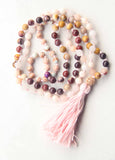 Knotted Long Rose Quartz and Rhodonite  Mala Necklace with Cotton tassel - VII