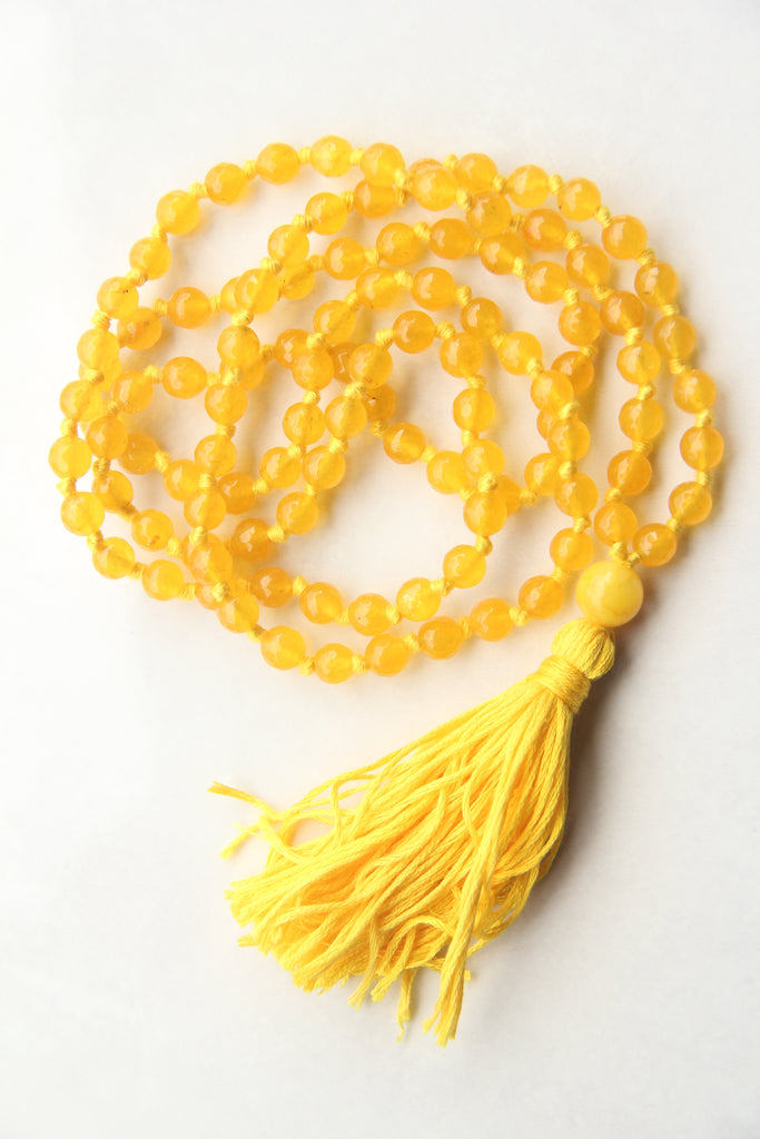 Long Knotted Citrine Mala Necklace with Yellow Cotton Tassel - I