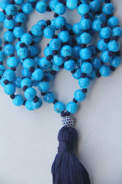 Deep Blue Sea - Long Knotted Blue Mala Necklace with Blue Cotton Tassel III