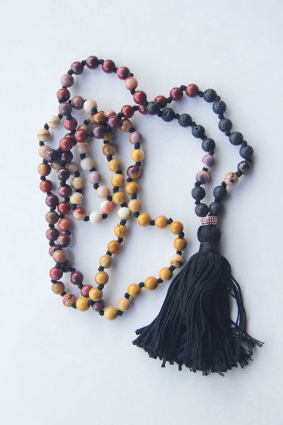 108 Long Knotted Mixed Rose Goldstone and LavaStones Mala Necklace with Cotton Tassel