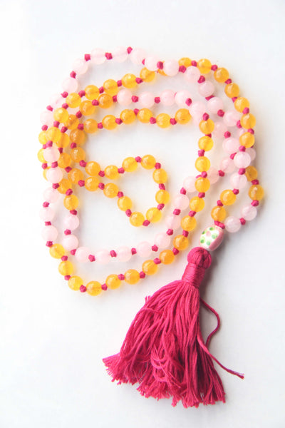 Long Knotted Citrine & Rose Quartz Mala Necklace with Cotton Tassel