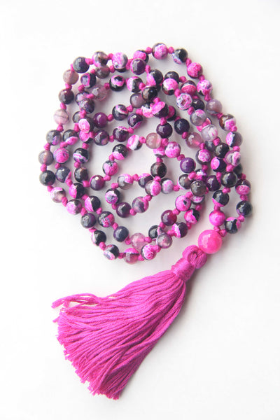 108 Mala Beads - Long Knotted Mala Necklace - Fire Pink Agate - Yoga Gift - Meditation Staple