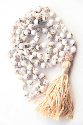 Knotted Long 108 Mala Necklace with Cotton Tassel and WhiteHowlite Beads - II