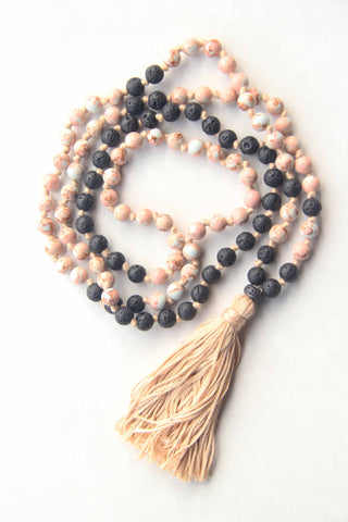 108 Long Knotted Mixed Howlite, Volcanic Beads Mala Necklace with Cotton Tassel
