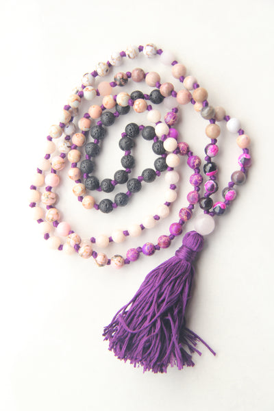 108 Long Knotted Mixed Rose Quartz,  Turquoise Mala Necklace with Cotton Tassel-II