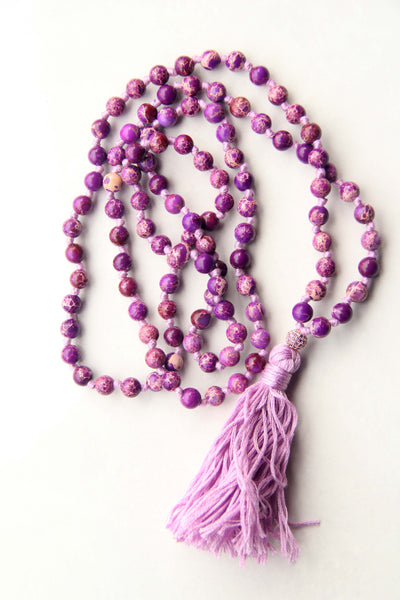 Knotted Long 108 Mala Necklace with Lilac Cotton Tassel and Turquoise Beads IV