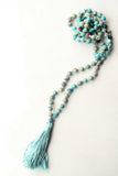 Knotted Long 108 Mala Necklace with Light Blue Cotton Tassel and Turquoise Beads