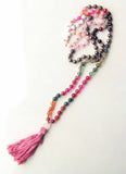108 Long Knotted Mixed Rose Quartz,  Magnetite, Agate Mala Necklace with Cotton Tassel