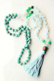 Knotted Long Mixed Quartz Mala Necklace with Cotton tassel
