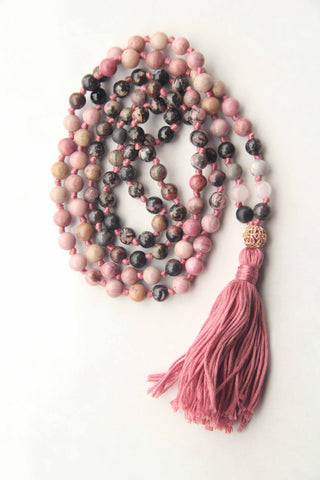 Knotted Long Rose Quartz and Pink Rhodonite  Mala Necklace with Cotton tassel - VI
