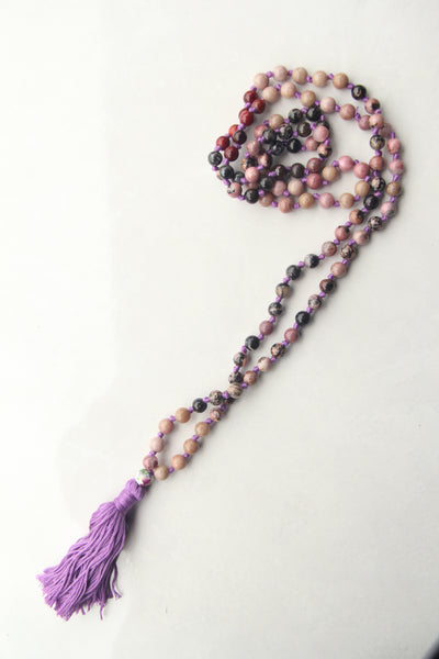 Knotted Long Pink Rhodonite  Mala Necklace with Cotton tassel