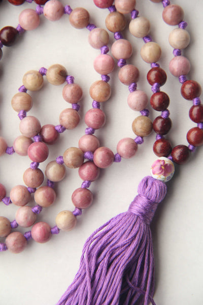 Knotted Long Sandston, Quartz, Rhodonite, Lava Beads  Mala Necklace with Cotton tassel - I
