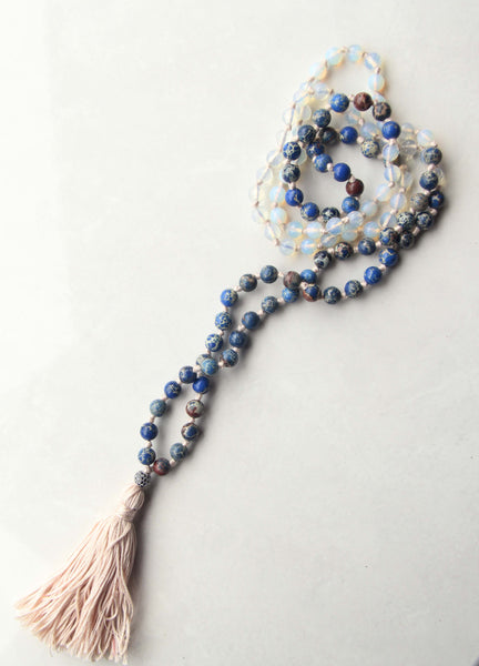 Clear Quarts and Turquoise Mala
