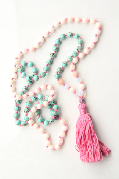 Knotted Long Rose Quartz and Pink Rhodonite  Mala Necklace with Cotton tassel - IV