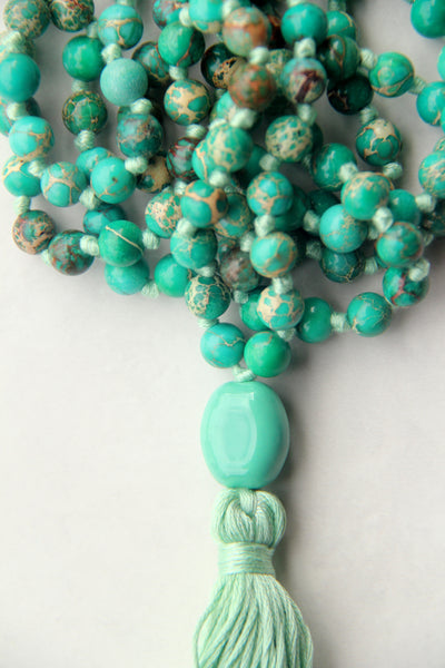 Knotted Long 108 Mala Necklace with Green Cotton Tassel and Turquoise Beads II