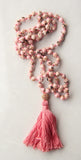Knotted Long 108 Mala Necklace with Cotton Tassel and Pink Howlite Beads - I