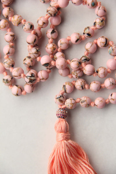 Knotted Long 108 Mala Necklace with Cotton Tassel and Pink Howlite Beads - II