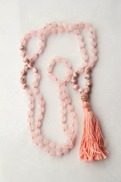 Knotted Long Rose Quartz and Pink Rhodonite  Mala Necklace with Cotton tassel - III