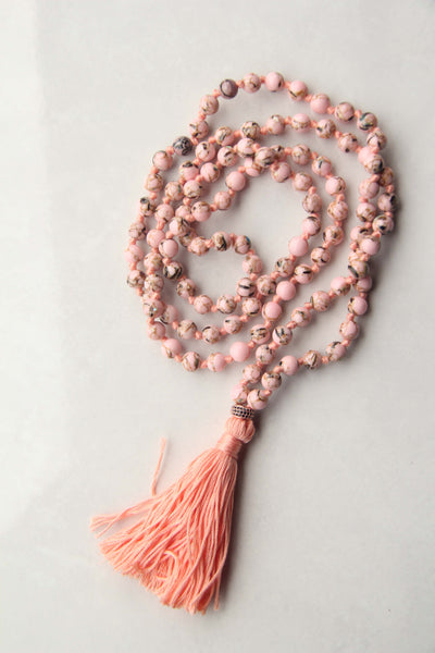 Knotted Long 108 Mala Necklace with Cotton Tassel and Pink Howlite Beads - III