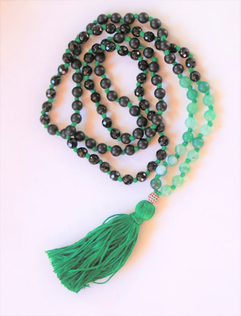 Knotted Long Mixed Agate Mala Necklace with Cotton tassel