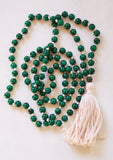 108 Mala - African Bloodstone Green - Long Knotted Mala Necklace
