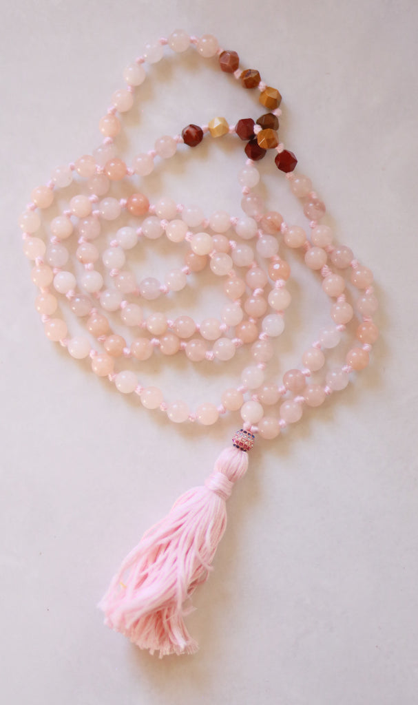 Knotted Long Frosted Rose Quartz and Jasper Mala Necklace with Cotton tassel - I