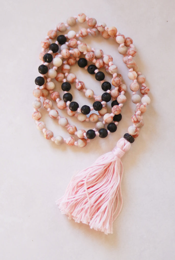108 Long Knotted Mixed Jasper, Volcanic Beads Mala Necklace with Cotton Tassel