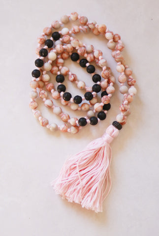 108 Long Knotted Mixed Jasper, Volcanic Beads Mala Necklace with Cotton Tassel - I