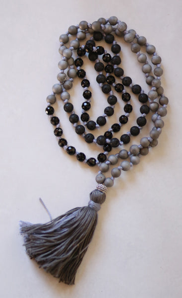 Mens Mala Necklace with black coloured cotton tassel- II