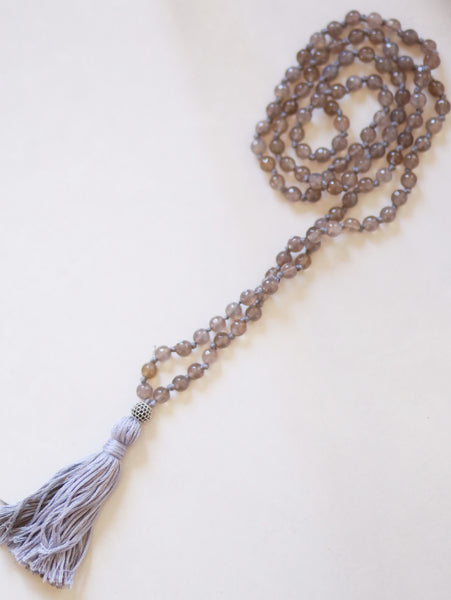 108 Knotted Long Smokey Quartz Mala Necklace with Cotton tassel - III