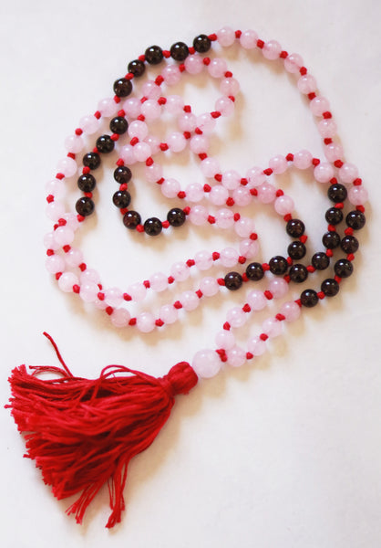 Knotted Long Rose Quartz and Garnet Beads  Mala Necklace with Cotton tassel