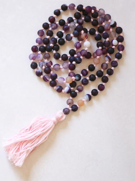 Purple Agate Mala Necklace with Cotton tassel