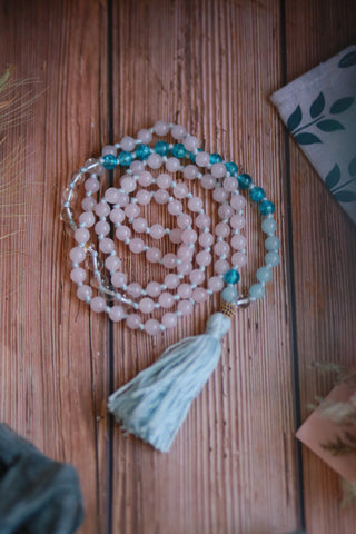 108 Long Knotted Mixed Rose Quartz, Glass and Clear Quartz Mala Necklace with Cotton Tassel