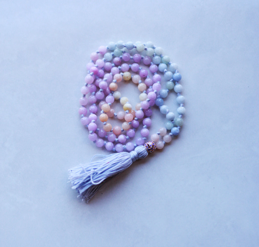 Angelite Mala Necklace with Cotton Tassel