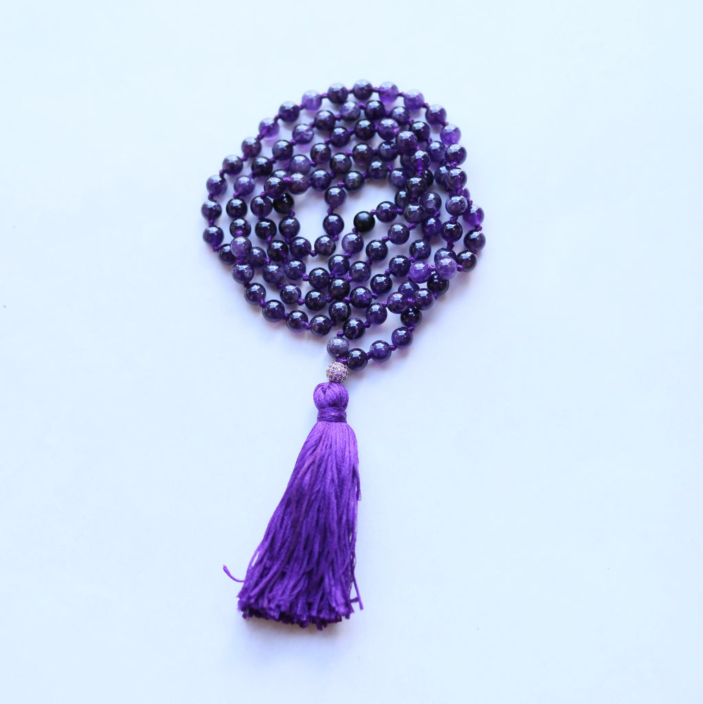 Purple Amethyst Bead Mala Necklace - Yoga Gift - Meditation Staple