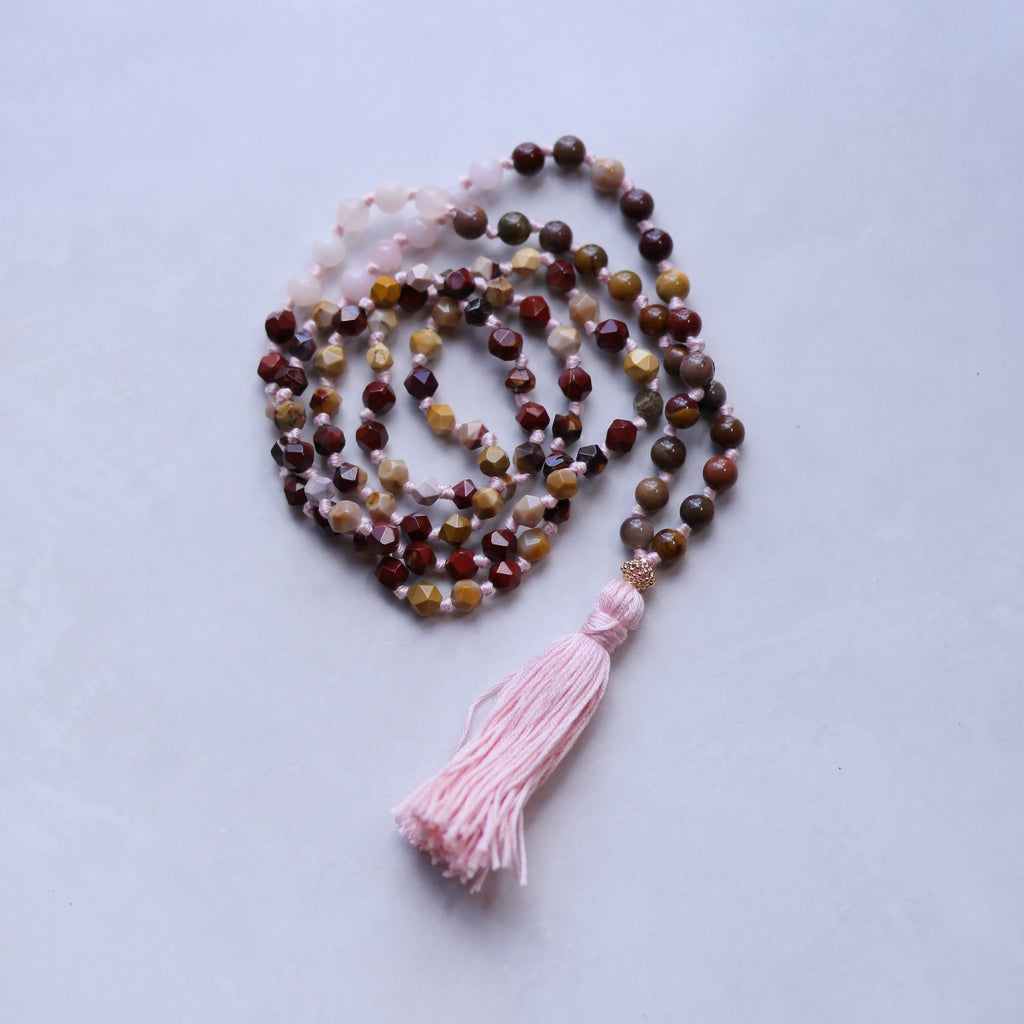 Rose Quartz and Jasper Mala Necklace with Cotton tassel - II