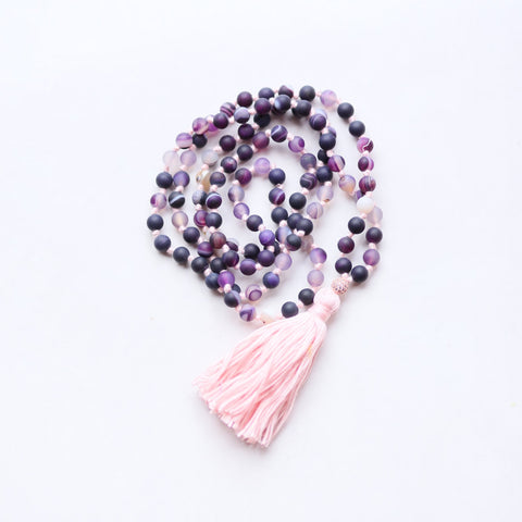 Purple Agate Mala Necklace with Cotton tassel - II