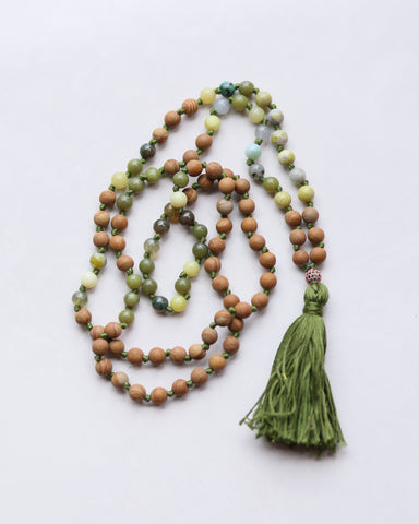 Autumn Mala Brown Jasper Green Aventurine Beads with Green Cotton Tassel