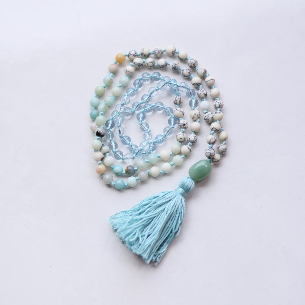 Amazon Agate Blue Quartz Mala Necklace with Cotton Tassel