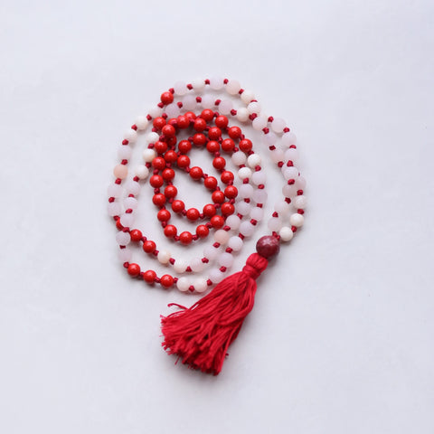 Knotted Long Rose Quartz with Cinnabar with Mala Necklace with Red Cotton tassel