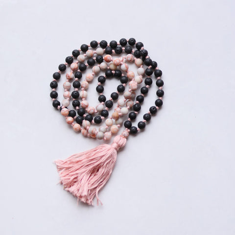 108 Long Knotted Mixed Jasper, Volcanic Beads Mala Necklace with Cotton Tassel - II