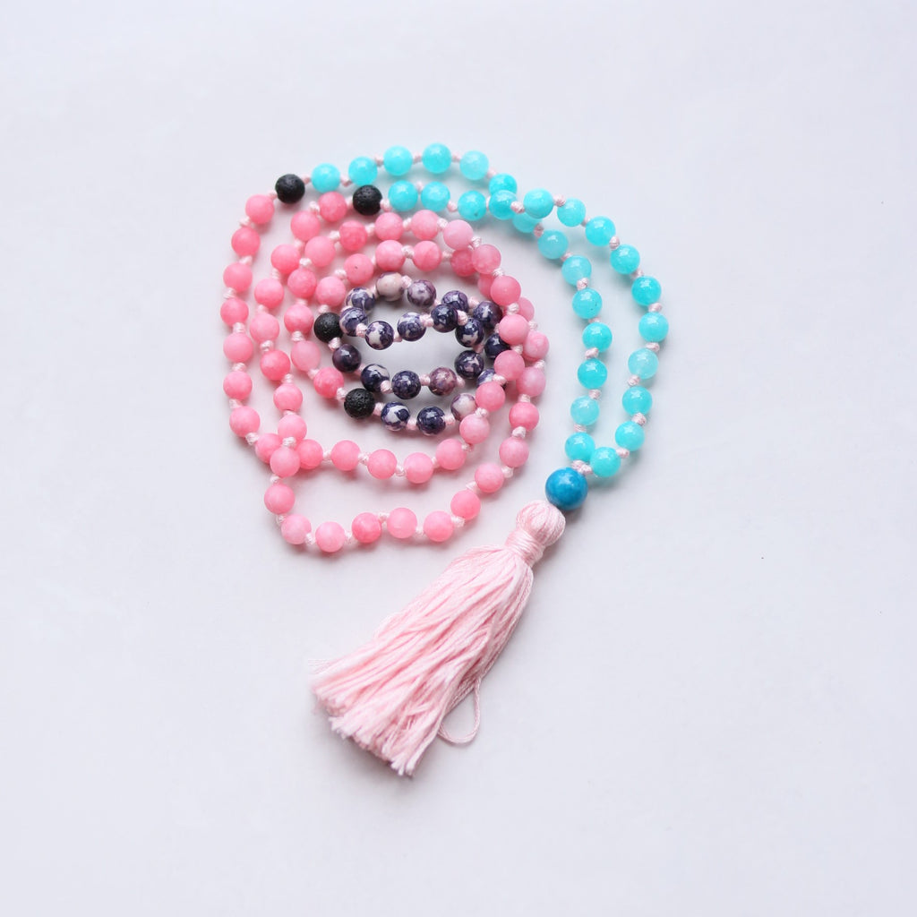 Mix Emperor Jasper, Pink and Blue Agate Mala