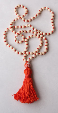 Wood and Cotton  - Long Knotted Wood Mala Necklace with Orange Cotton Tassel